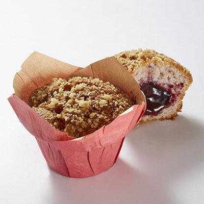 Muffin fruits rouges fourré fruits rouges 120g